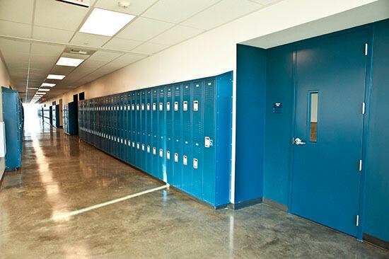 Hallway of a charter school