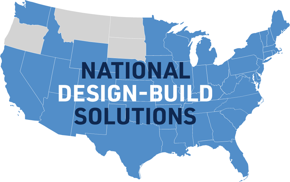 Silhouette of the United States, in blue, with National Design-Build Solutions overlayed
